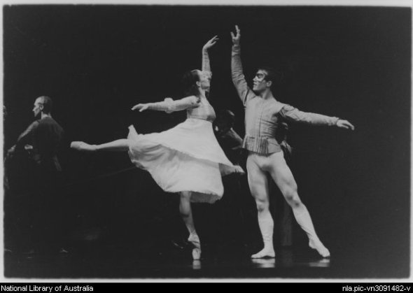 Jacinta Ross-Ehlers as Juliet and Callum Hastie as Romeo in the West Australian Ballet's performance of Romeo and Juliet, held at His Majesty's Theatre, 16 November 2000 (Source: National Library of Australia)